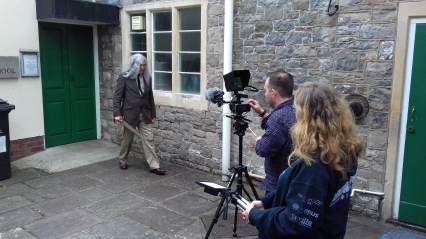 Filming outside the Sphere, Chipping Sodbury.